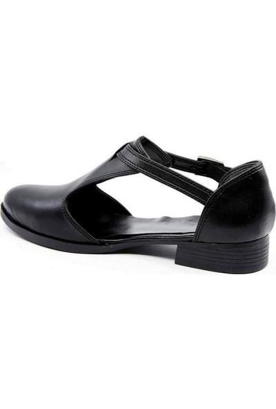 Doriys Siyah Cilt Köprü Kemer Kadın Ayakkabı