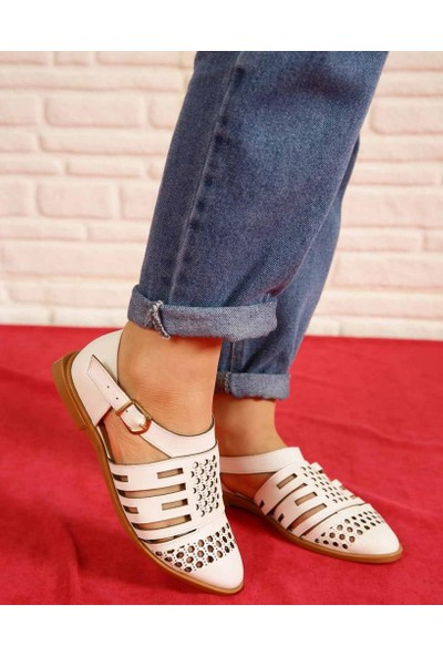Everett Beyaz Cilt Lazer Kesim Bilek Bağlı Kadın Ayakkabı