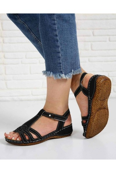 Frasco Siyah Kot Cırtlı Bilek Bağlı Kadın Sandalet