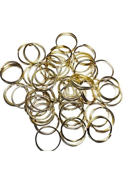 Platin Sarı Metal Makrome Anahtarlık Halkası 50 Adet