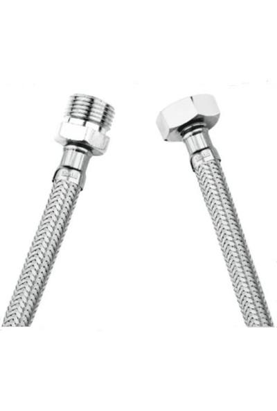 Asflexs Nipelli 1/2 1/2 Çelik Su Flexi Bağlantı Flexi Ed Erkek Dişi