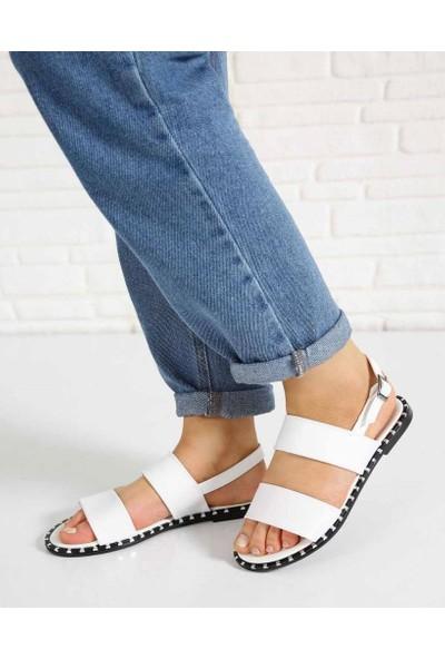 Lucky Beyaz Cilt Pin Taban Kadın Sandalet