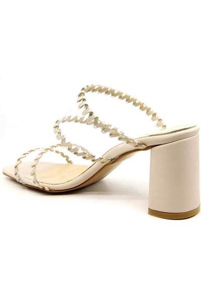 Sancha Ten Cilt Şeffaf Kemer Topuklu Kadın Terlik