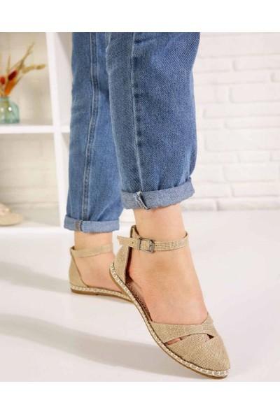 Veronic Hasır Çapraz Bant Bilek Bağlı Kadın Sandalet