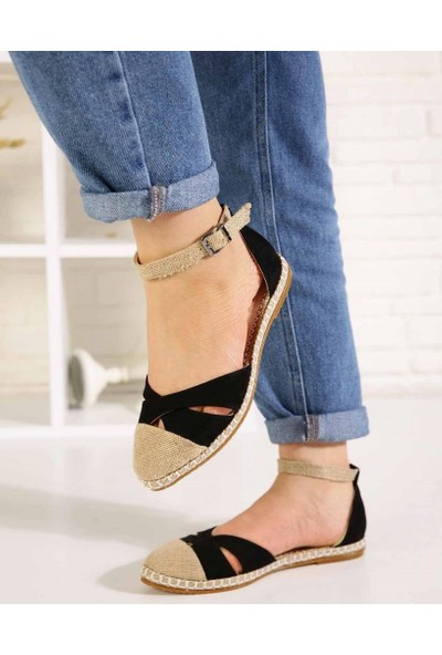 Veronic Siyah Süet Çapraz Bant Bilek Bağlı Kadın Sandalet