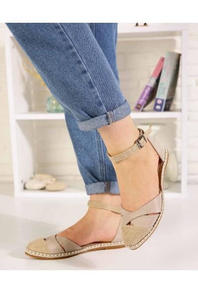 Veronic Ten Süet Çapraz Bant Bilek Bağlı Kadın Sandalet