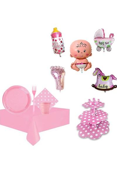Partylandtr Pembe Kız Baby Shower Hoşgeldin Bebek 25 Kişilik Parti Seti
