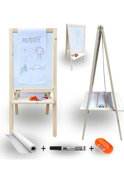 Armode Rulo Kağıtlı Çift Taraflı Ayaklı Ahşap Çocuk Yazı Tahtası Beyaz-Beyaz