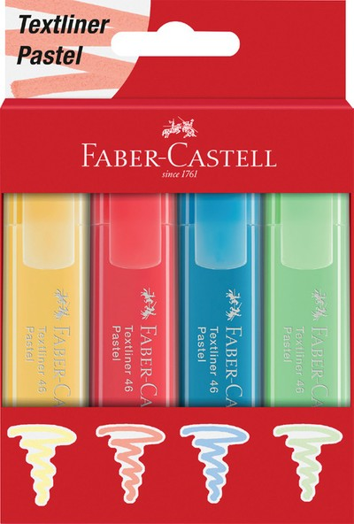 Faber-Castell Fosforlu Kalem 46 Pastel Renkler 4'lü Karton