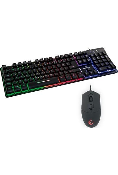 Rampage KM-RX9 CYPHER Siyah Usb Gökkuşağı Zemin Aydınlatmalı Q Standart Oyuncu Klavye + Mouse Set