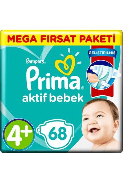 Prima Bebek Bezi Aktif Bebek 4+ Beden 68 Adet Maxi Plus Süper Fırsat Paketi