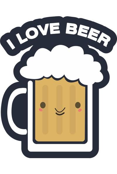 Sticker Fabrikası I Love Beer Sticker 10 x 8 cm Renkli