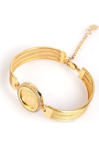 Dehaberkstore Altın Kaplama Bilezik Modeli Çerçeveli Çeyrek Bileklik