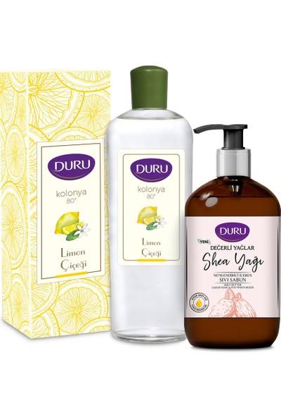 Duru Limon Kolonyası Cam Şişe 400 ml + Shea Yağı Sıvı Sabun 500 ml