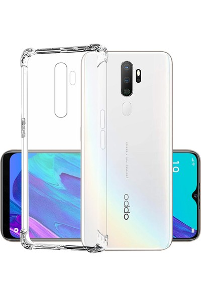 Happyshop Oppo A5 2020 Şeffaf Antishock Silikon+Cam Ekran Koruyucu