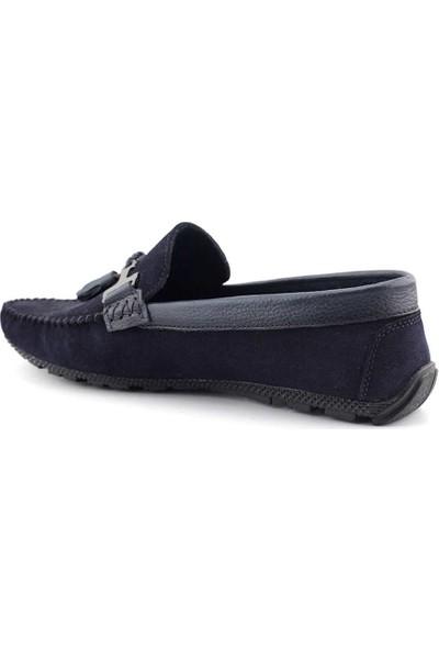 Tkn 086 Hakiki Deri Erkek Casual Ayakkabı Lacivert Süet