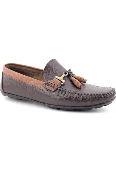 Tkn 086 Hakiki Deri Erkek Casual Ayakkabı Kahverengirengi