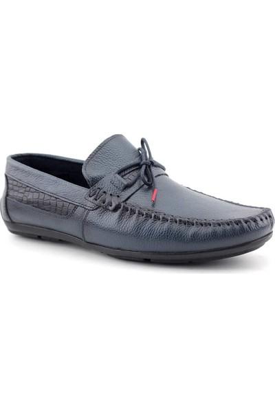 Tkn 070 Hakiki Deri Erkek Casual Ayakkabı Lacivert