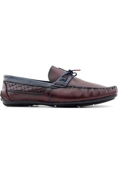 Tkn 070 Hakiki Deri Erkek Casual Ayakkabı Bordo