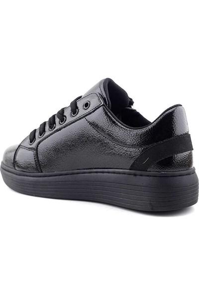 Saçma 361 Kadın Günlük Ayakkabı Siyah Kırışık