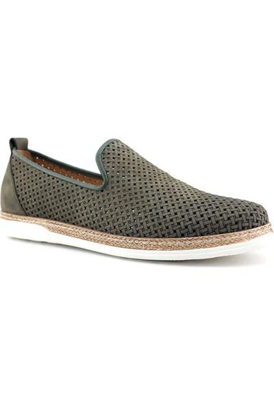 Libero 3397 Hakiki Deri Erkek Ayakkabı Haki Nubuk