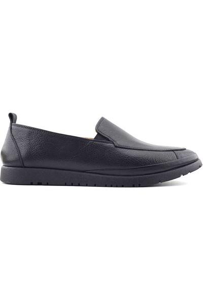Iz Hakiki Deri Kadın Ayakkabı Siyah