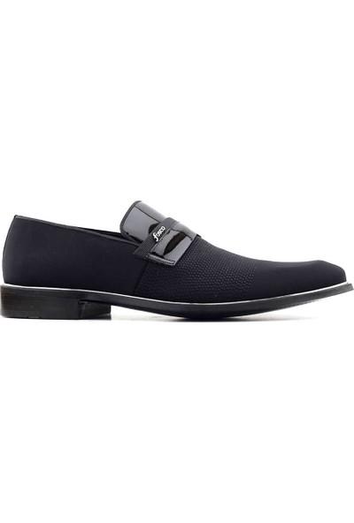 Fosco 9086 Hakiki Deri Erkek Klasik Ayakkabı Siyah Saten