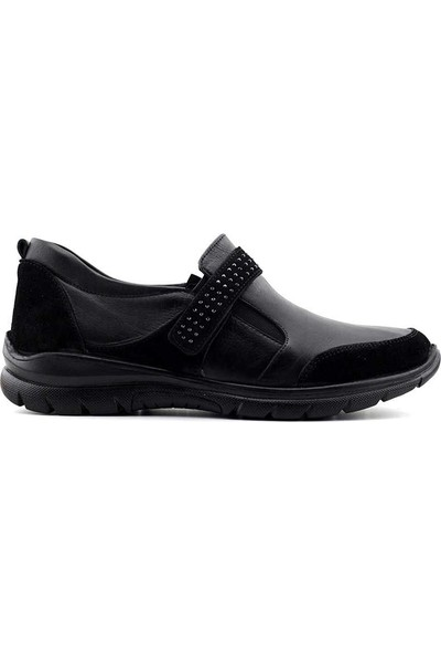 Evida 2650 Hakiki Deri Kadın Ayakkabı Siyah Siyah Nubuk