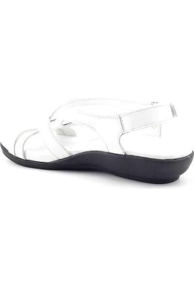 Erpaş 700 Hakiki Deri Kadın Sandalet Beyaz