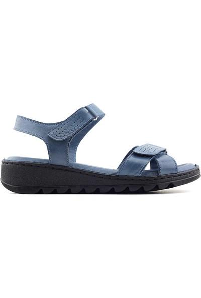 Ekinci 041 Hakiki Deri Kadın Sandalet Kot Mavi