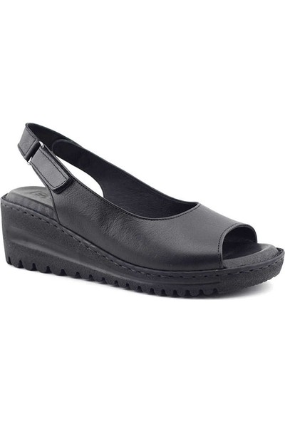 Ekinci 033 Hakiki Deri Kadın Sandalet Siyah