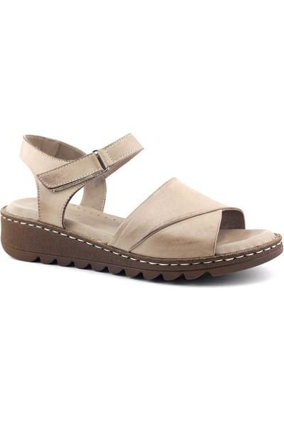 Ekinci 021 Hakiki Deri Kadın Sandalet Vizon
