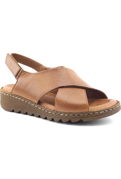 Ekinci 019 Hakiki Deri Kadın Sandalet Taba