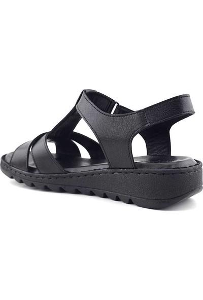 Ekinci 002 Hakiki Deri Kadın Sandalet Siyah