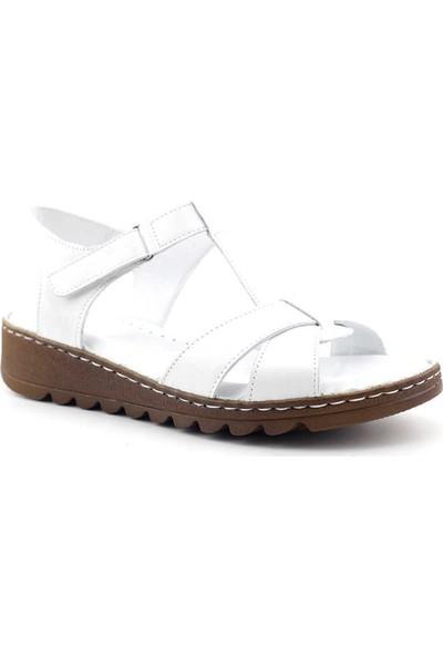 Ekinci 002 Hakiki Deri Kadın Sandalet Beyaz