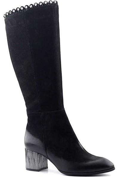 Venüs 1953307 Hakiki Deri Kadın Topuklu Çizme Siyah