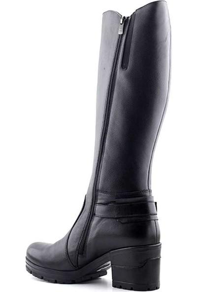 Venüs 1611605 Hakiki Deri Kadın Topuklu Çizme Siyah