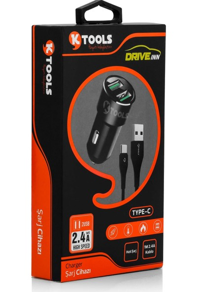 Ktools Drive Inn 2.4A 1m Type C Çift USB Araç Şarjı Çakmaklık