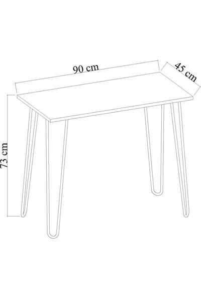 Dienni Beyaz Metal Ayaklı Çalışma Masası