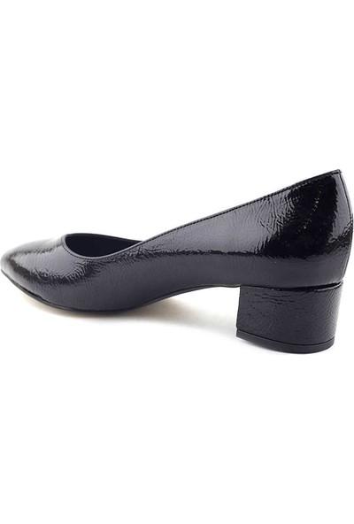 Bono Shoes 729 Kadın Ayakkabı Siyah Kırışık