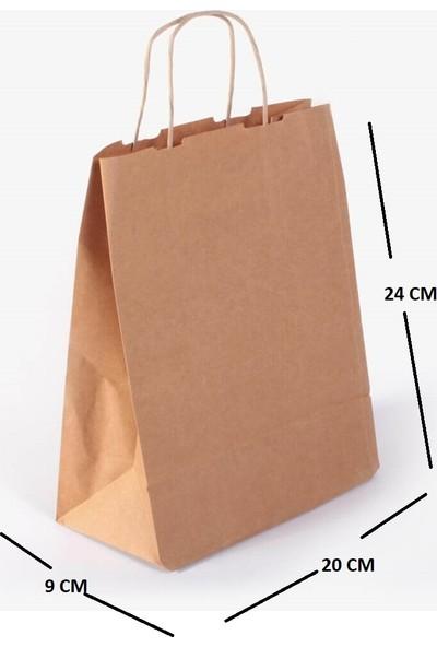 Kraft Çanta Kağıt Poşet Çanta 15'li 20 x 24 x 9 cm