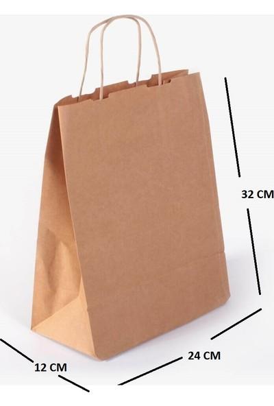Kraft Çanta Kağıt Poşet Çanta 15'li 24 x 32 x 12 cm