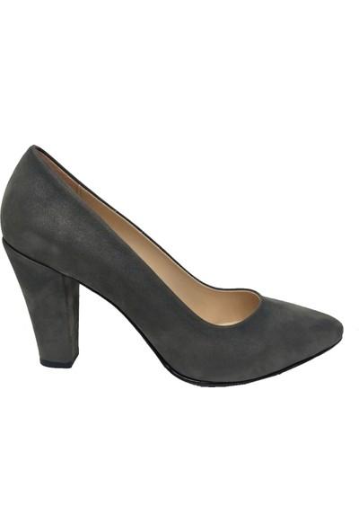 Gizem 366 Süet Steletto Kalın Topuk Kadın Ayakkabı