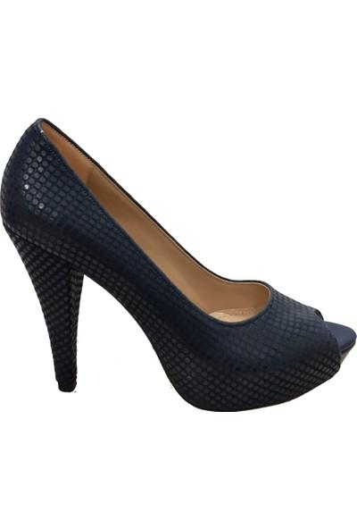 Gizem 36607 Kare Desen Önü Açık Yüksek Platform Kadın Ayakkabı