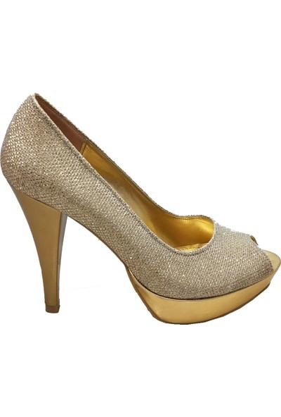 Gizem 46609 Simli Önü Açık Yüksek Platform Kadın Ayakkabı