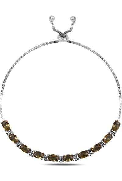 Tevuli Gümüş 925 Ayar Oval Sultanit Taşlı Suyolu Asansör Bileklik