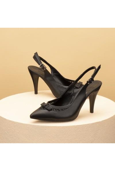 Beety Işıltılı Fiyonklu Sivri Burun Arkası Açık Kadın Topuklu Ayakkabı - BY45.20