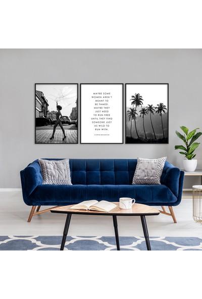 Hepsi Home Siyah Beyaz 3'Lü Çerçeveli Poster Seti Hpbd-080
