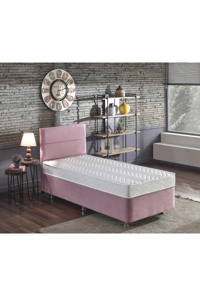 Niron Pinky Tek Kişilik 90 x 190 Cm Yatak Seti - Pembe Kumaş Baza, Başlık ve Yatak Takımı
