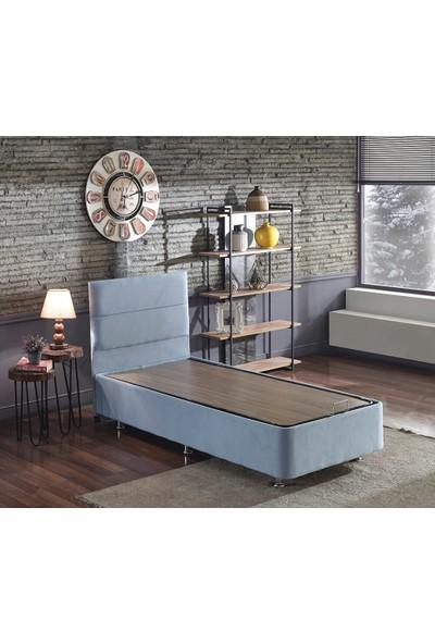 Niron Cozy Tek Kişilik Yatak Seti - 90 x 190 Cm Mavi Kumaş Baza, Başlık ve Yatak Takımı